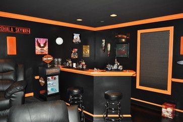 Harley Davidson Toilet Paper Holders | Harley Davidson Themed Theater  Contemporary Family Room