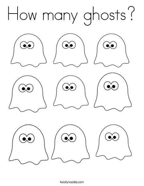 How many ghosts? Coloring Page from TwistyNoodle.com