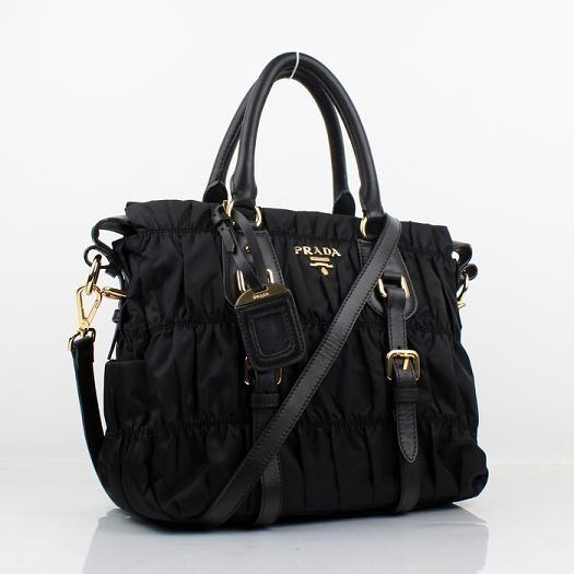 f9612c86e86c Cheap Prada Nappa Leather Puckered Medium Tote Bag Black 1336