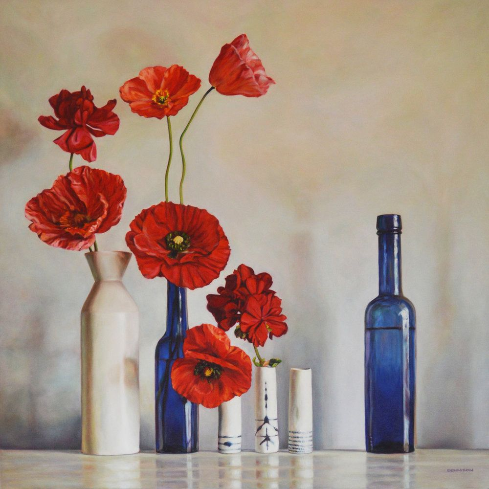 Wendy S Still Life Oil On Canvas 100cm X 100cm Flannel Flower Flower Oil Bottle Art