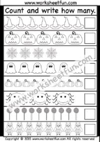 Halloween – Counting 1-10 – One Worksheet | Preschool Worksheets ...