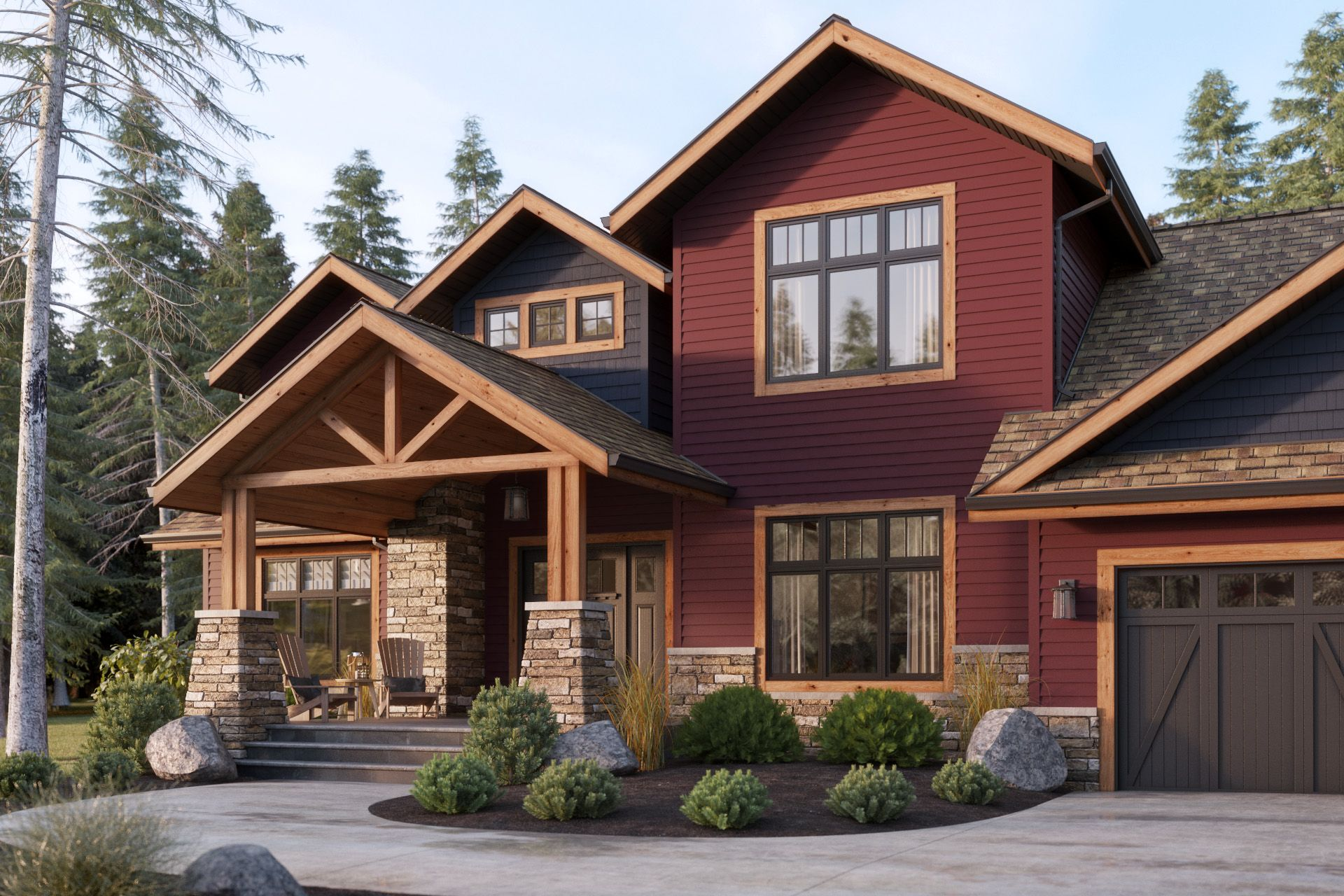 Beautiful deep red siding adds a ton of curb appeal and for Homes with wood siding