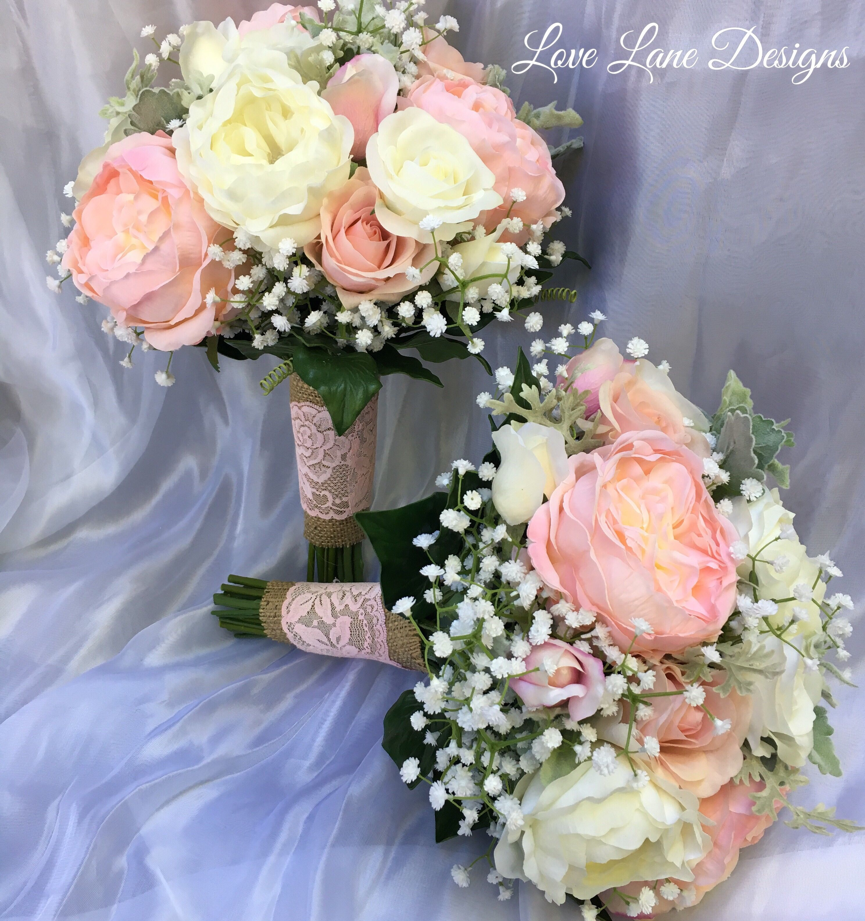 Rustic Romance Bouquets Hessian And Lace Blush Pink Bouquets