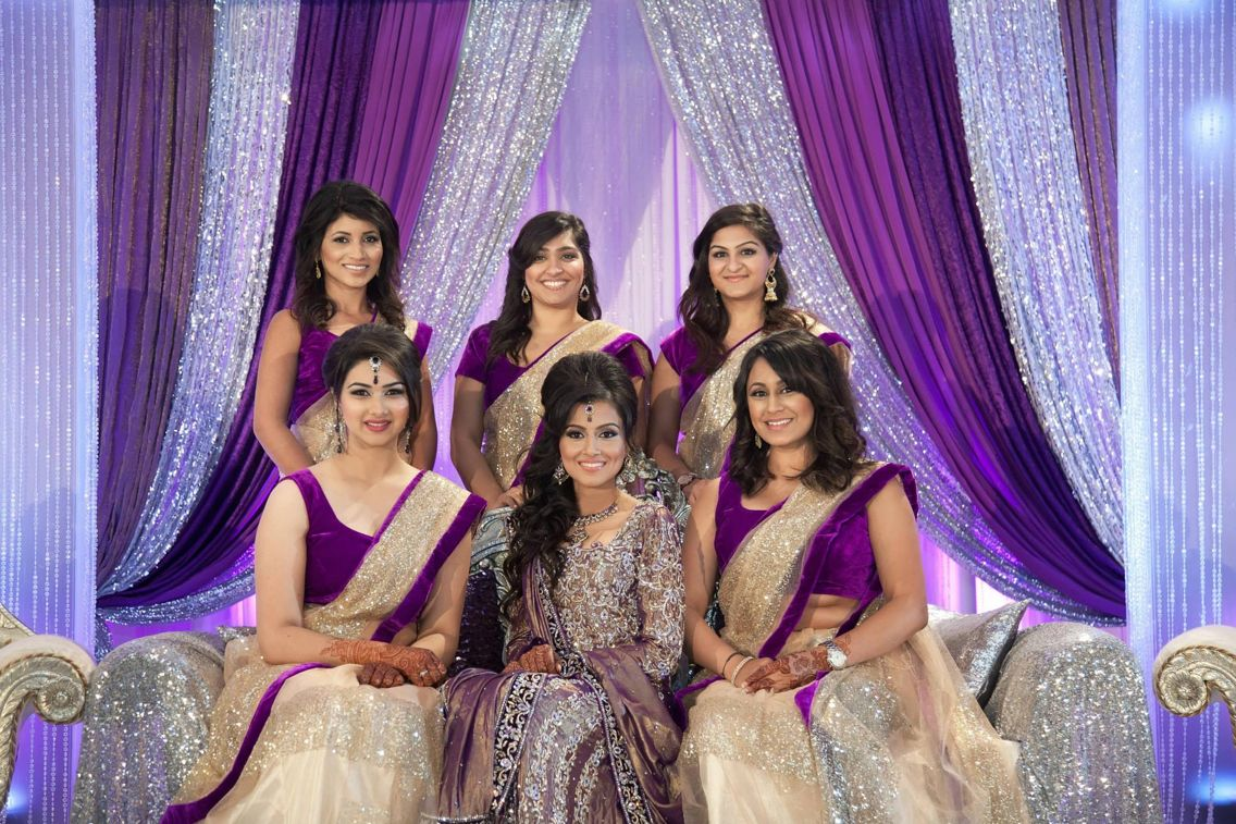 Beautiful bridesmaids sarees and decor for Indian wedding ...