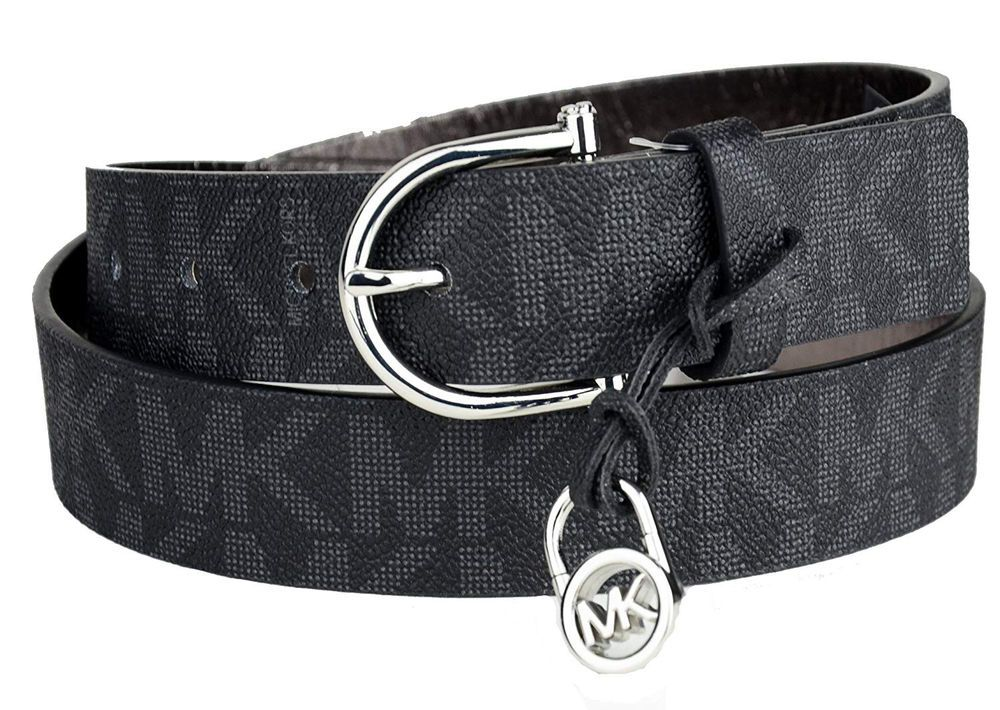 Michael Kors Womens Mk Logo Belt Black Size Large Nwt Fashion Clothing Shoes Accessories Womensaccessories Belts Ebay Link Belt Mk Logo Black Belt