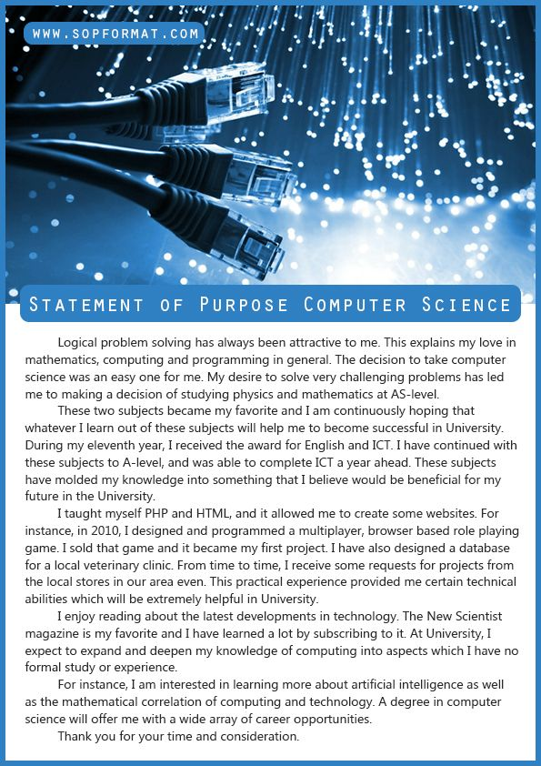 Best Statement of Purpose Computer Science Format Best Statement - sample statement of purpose