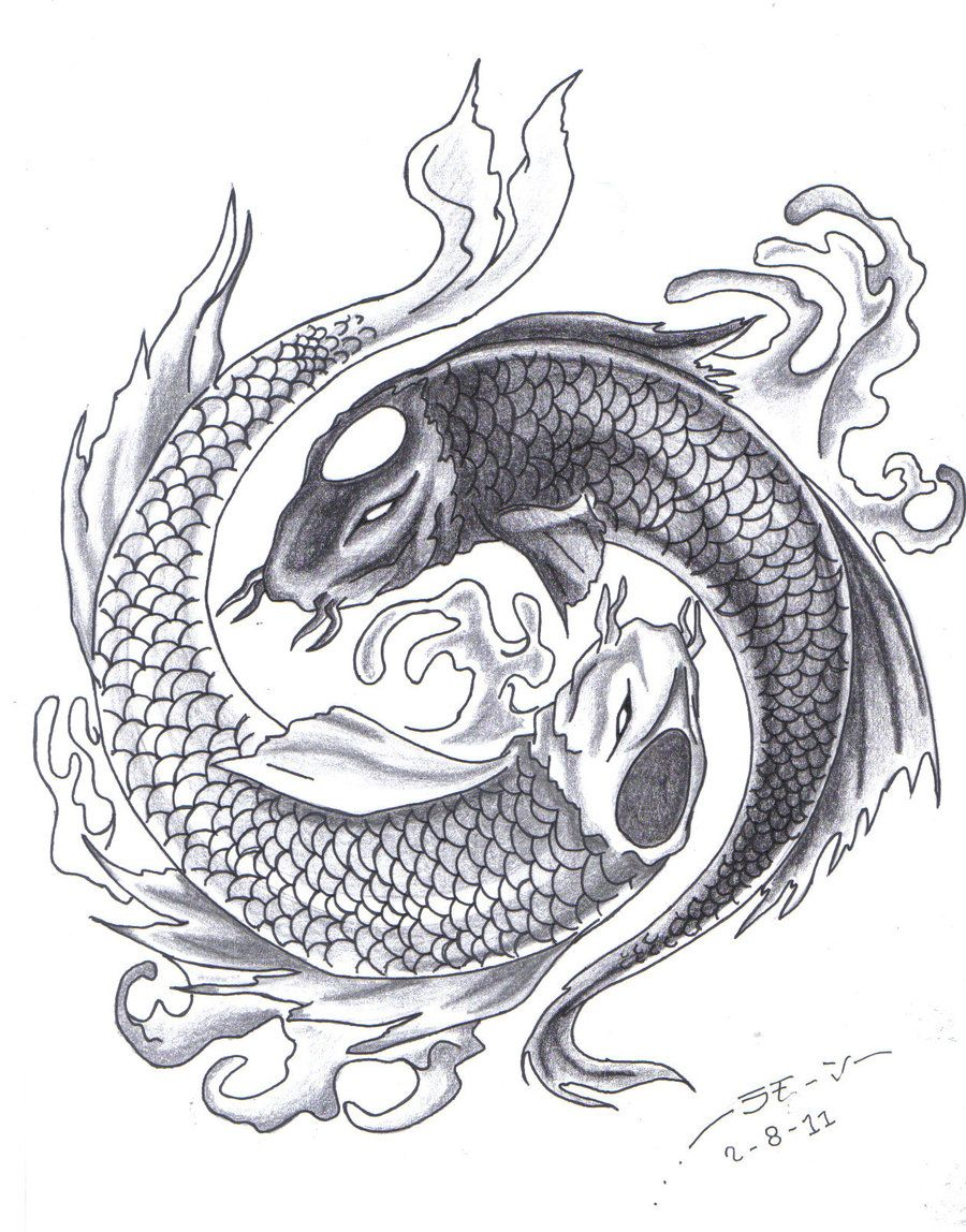 Black and grey yin yang tattoo google search kio fish for Yin and yang koi fish