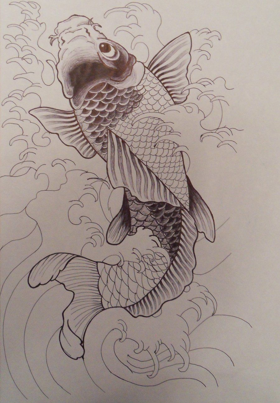 Unfinished koi fish by on for Koi fish sketch