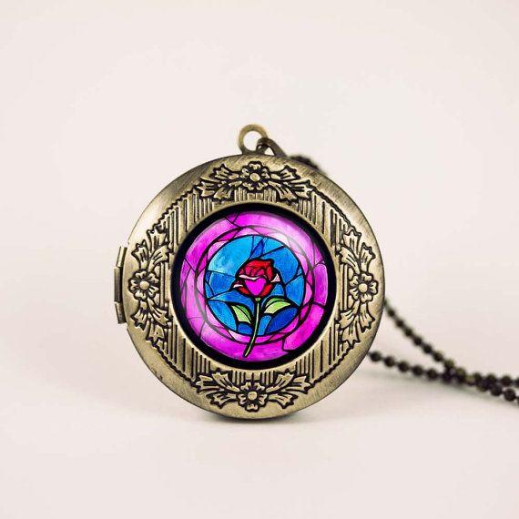 Vintage Antique Bronze Glass Dome Necklace Pendant Beauty /& The Beast Rose
