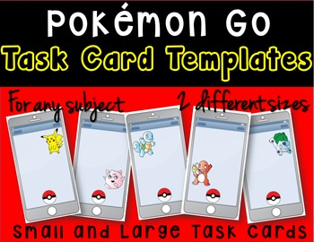 Pokemon Go Smart Phone Task Card Templates Task Cards Pokemon Card Templates