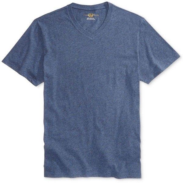 Club Room Men's V-Neck T-Shirt, ($9.98) ❤ liked on Polyvore featuring men's fashion, men's clothing, men's shirts, men's t-shirts, denim blue htr, club room mens shirts, mens blue denim shirt, mens vneck shirts, men's v neck t shirts and mens denim shirt
