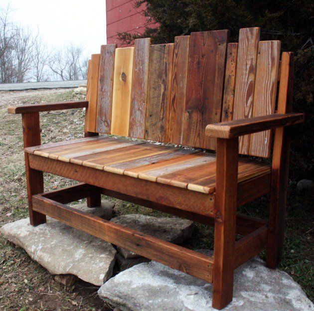 18 beautiful handcrafted outdoor bench designs bench for Garden table designs wood