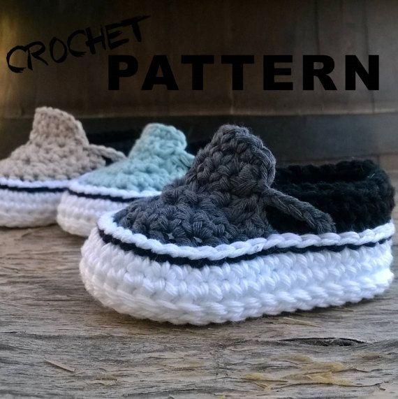 Crochet PATTERN. Vans style baby sneakers. Instant Download   Estilo ...