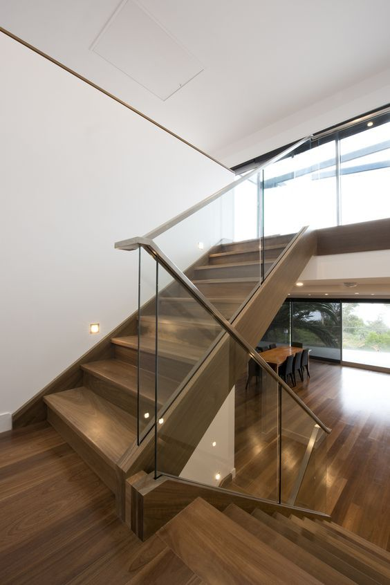 Genial Modern Staircase With A Glass Balustrade And Wooden Handrails For A Contrast