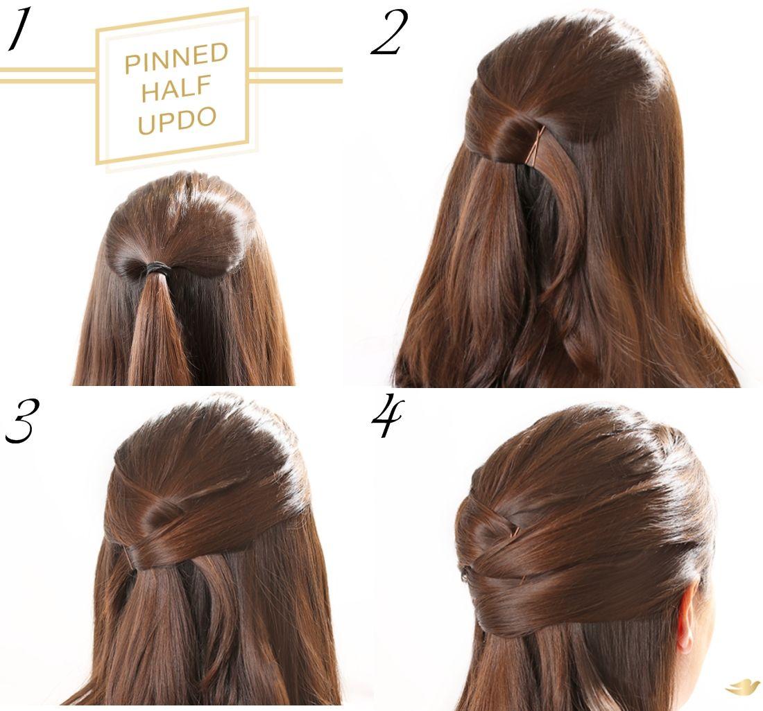 Easy Updo Hairstyles For Long Hair Step By Step Criss Cross Pinned Half Updo Tutorial My Hijab Frisur Hochgesteckt Hochsteckfrisuren Lange Haare Haare Schritte