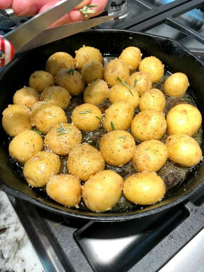 Garlic Rosemary Fondant Potatoes are easy using Creamer potatoes