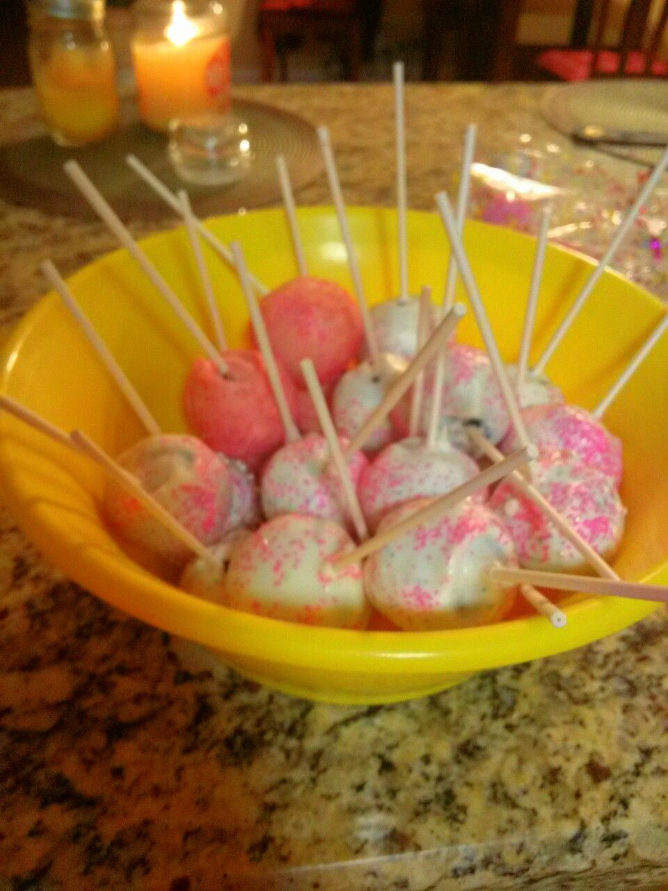 Cake pops yum i made them for a friend baby shower
