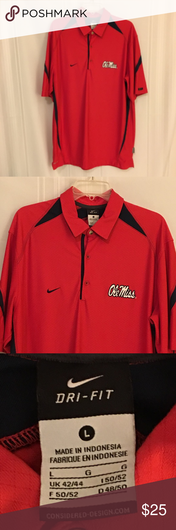 d3809d81 Nike Dr Fit Ole Miss Rebels Polo Golf Shirt EUC! Size Large Nike Dri Fit  100% Polyester Knit Short Sleeve Shirt. Red with Blue accents.