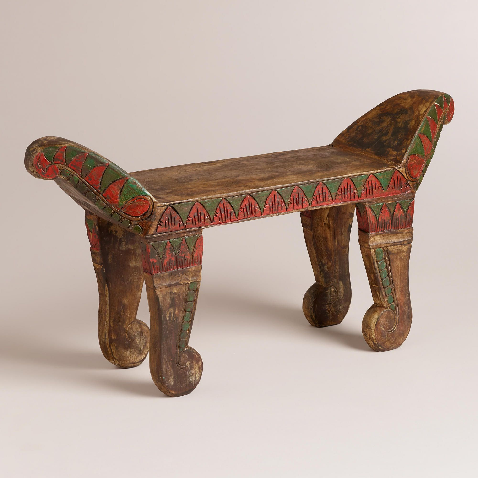 Painted Wood Traditional Sitting Stool | World Market. Crafted of ...