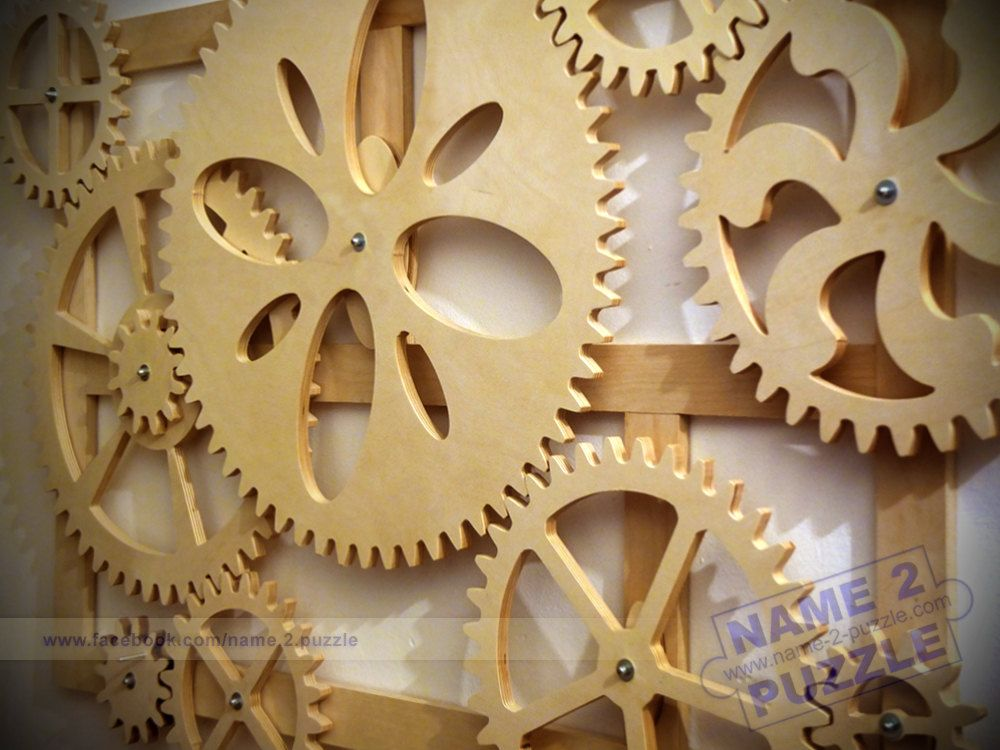 Wooden Kinetic Wall Decor. Mechanical Wall Art. Wooden Rotating ...