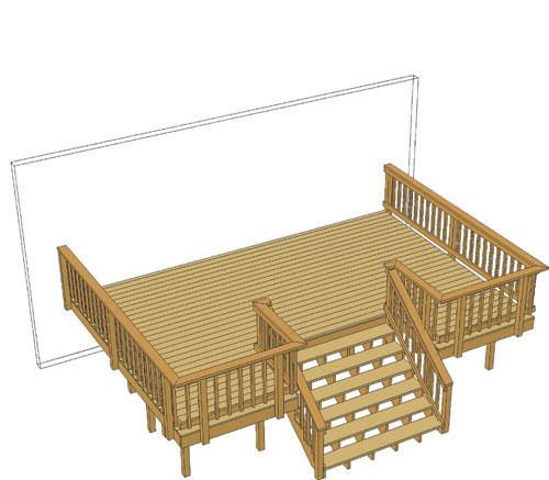 20 X 14 Deck W Inset Wide Stairs At Menards Deck Layout | Outdoor Stair Railing Menards