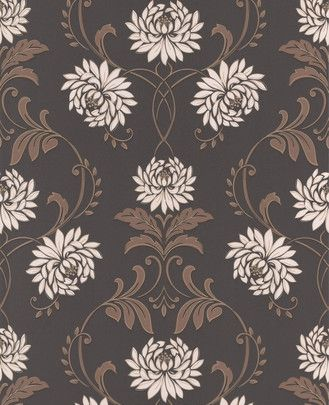 graham&brown wallpaper  Brunt tapet støtter dit CENTER-område. Her tilføres også elementet TRÆ (pga. blomsterne) og en smule METAL (de hvide blomster).