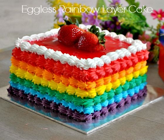 Eggless Cake Decoration At Home : Simple Eggless Rainbow cake recipe with Rainbow frosting ...