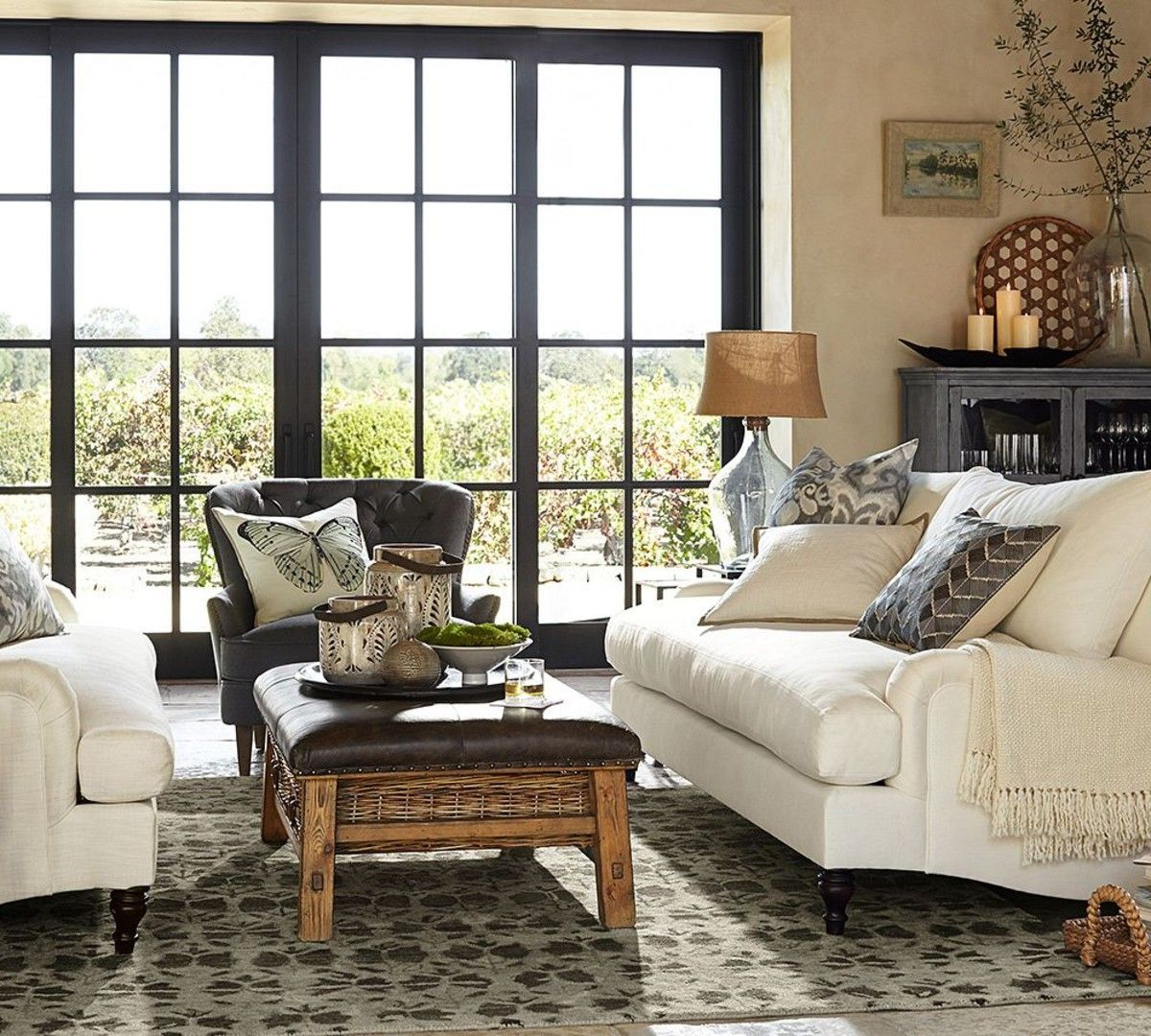 Sofas Sectionals Comfortable Pottery Barn Sofa Carlisle Upholstered Flax Color Down Blend Wred Cushions Traditional