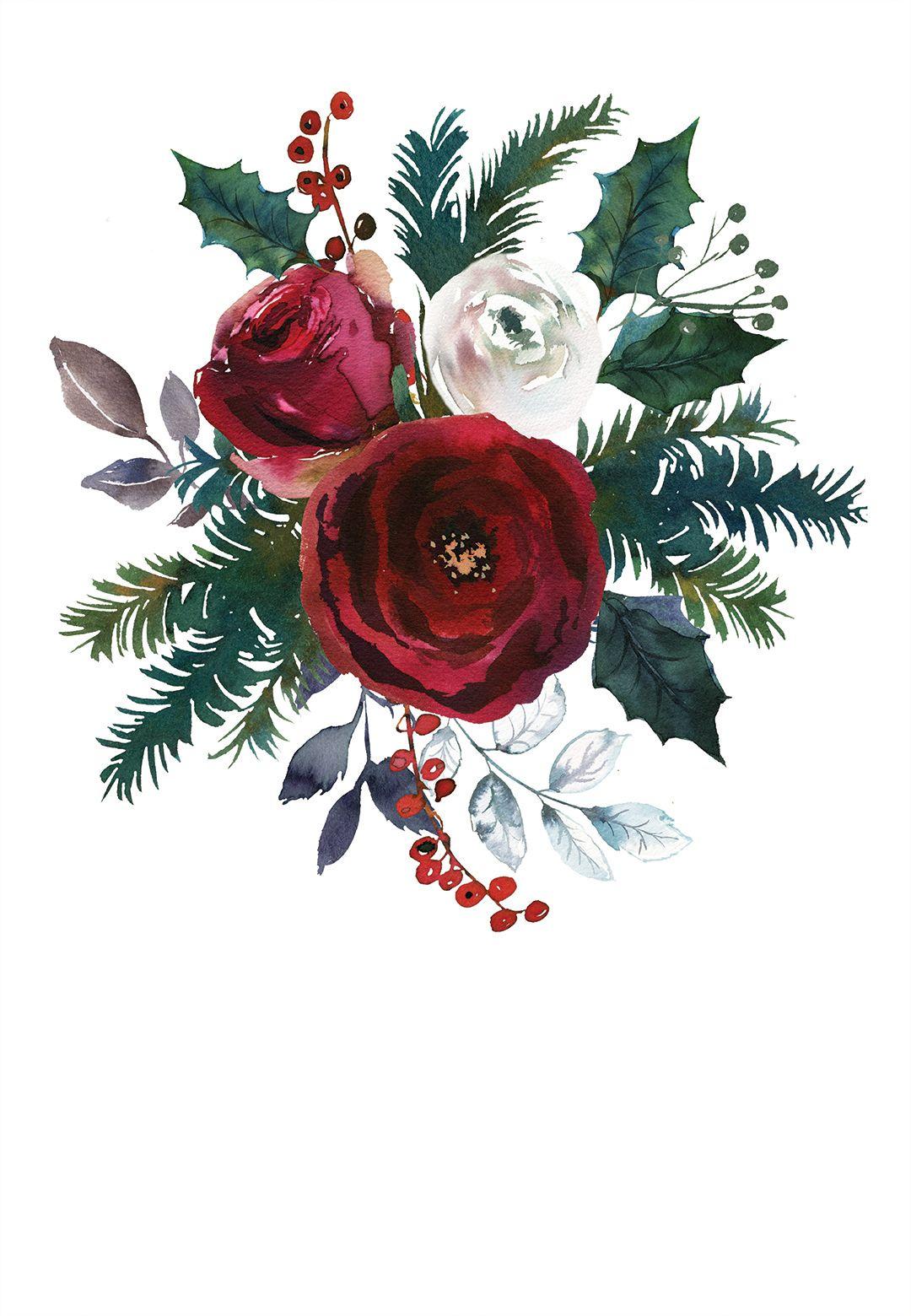 red bordo bouquet free christmas invitation template greetings