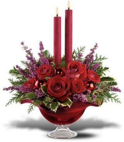 flores rojas, velas blancas Fiestas Pinterest Velas