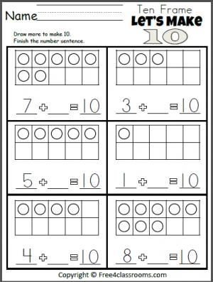 Free Let S Make 10 Addition Worksheet Kindergarten Math Addition Math Addition Worksheets Kindergarten Math Worksheets Free