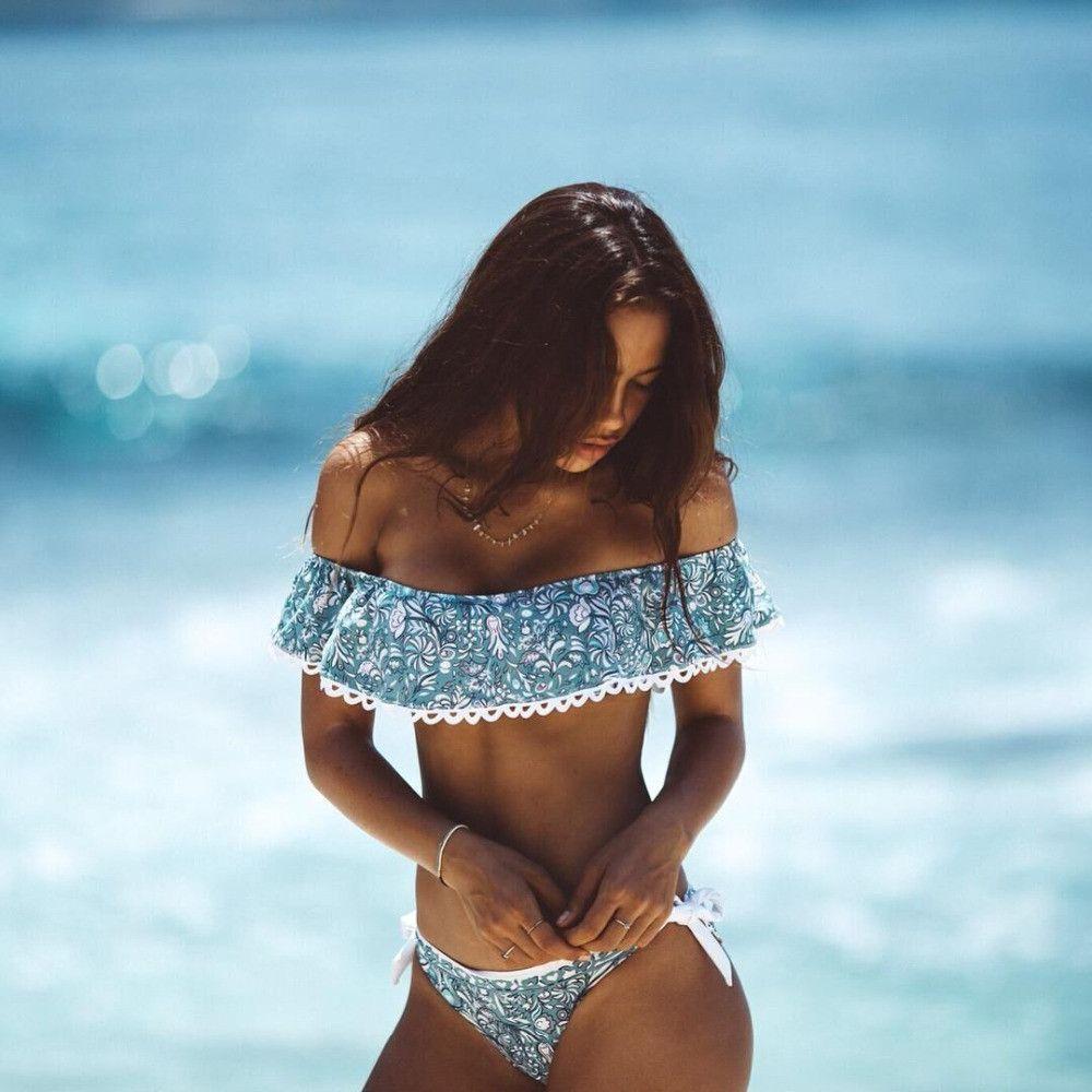 2017 Summer stylesTriangle strapless lace crop top sexy bikini set women plus size off shoulder swimsuit swimwear bathing suit