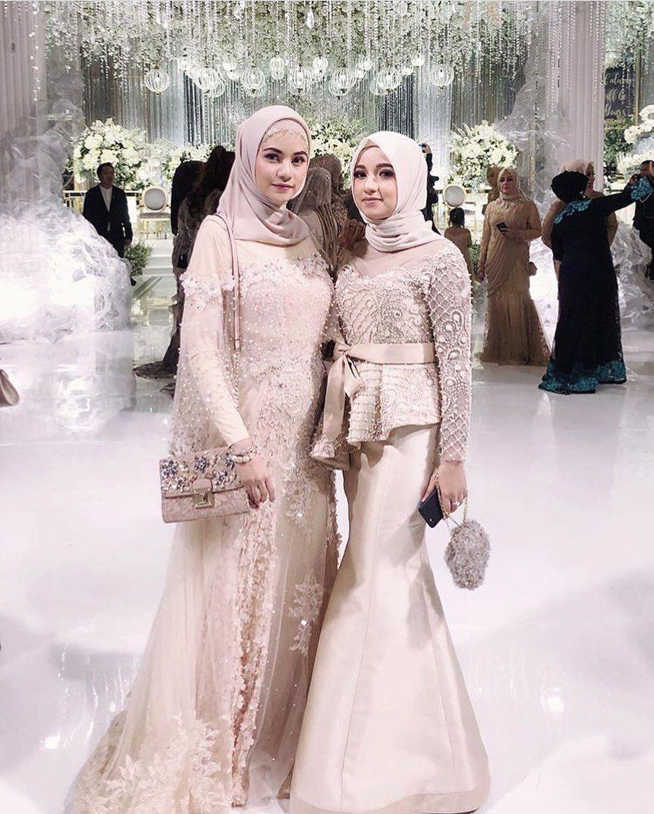Simple Hijab Modern Wedding Dress - ADDICFASHION