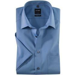Olymp Luxor Kurzarmhemd, modern fit, New Kent, Blau, 46 Olymp