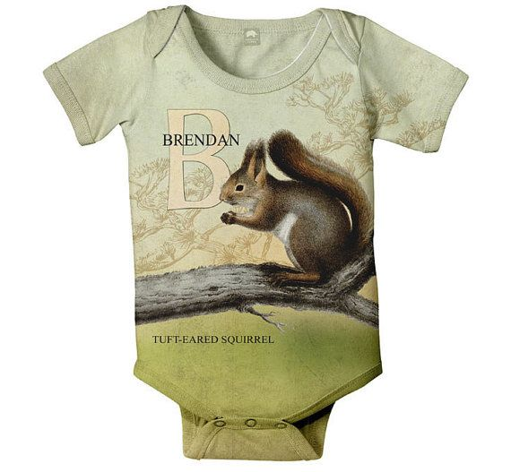 Squirrel Baby Onesie Personalized Woodland by SimplySublimeBaby,