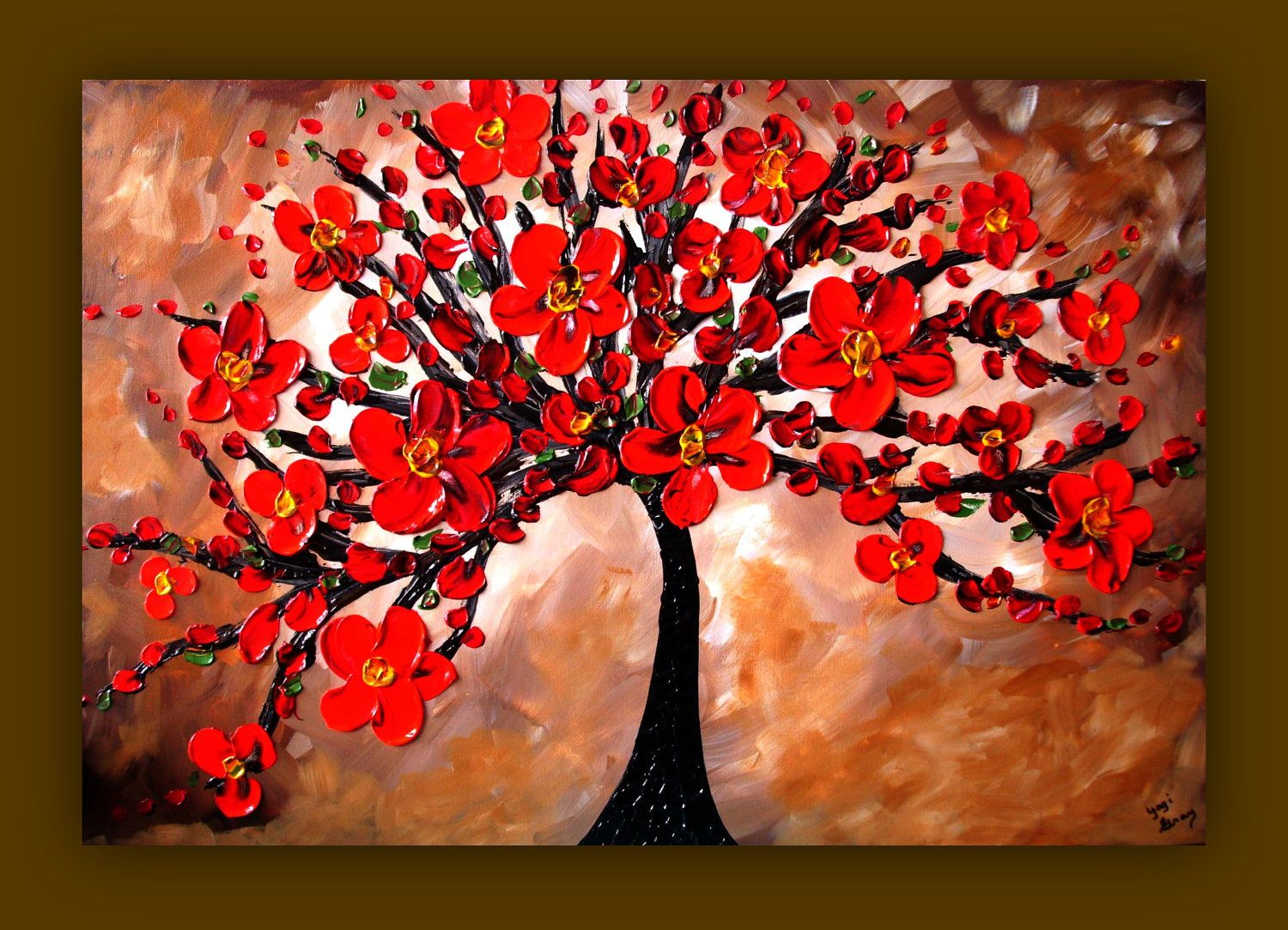 Red Flower Painting Tree Textured Original On Canvas 36x24 Wall Art Home Decor