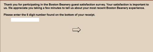 Boston Beanery Guest Satisfaction Survey WwwBostonbeanerysurvey