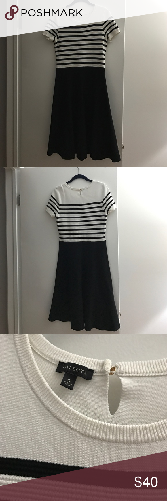 Talbots midi sweater dress Worn 2 times. In perfect condition. Black and white stripe sweater dress from talbots. Pull on style with one button closure. Midi length. Hits below knee. Size small Talbots Dresses Midi