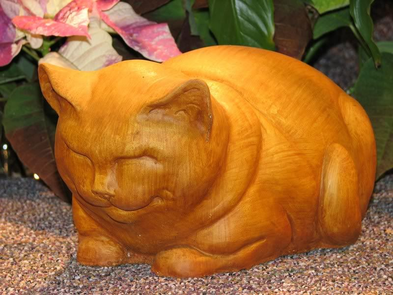 Cast Stone Cement Fat Cat Outdoor Garden Statue
