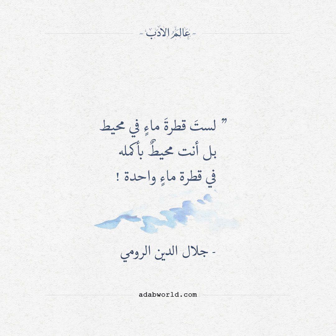لست قطرة ماء في محيط جلال الدين الرومي عالم الأدب Simple Love Quotes Words Quotes Wonder Quotes
