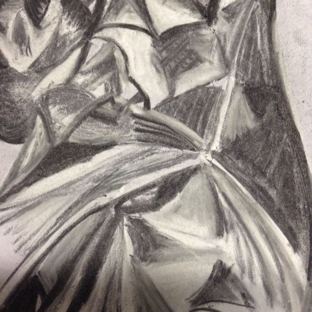 Drawing session exploring light and reflect ion to creat tone and form using chalk and charcol
