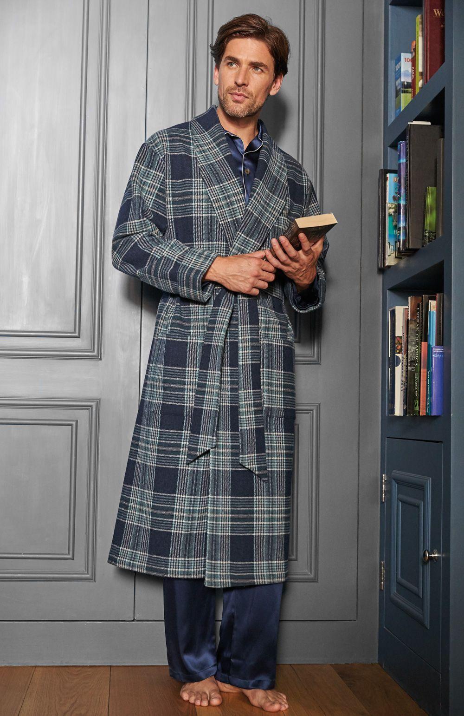 Luxury Men's Wool Silk-Lined Robe