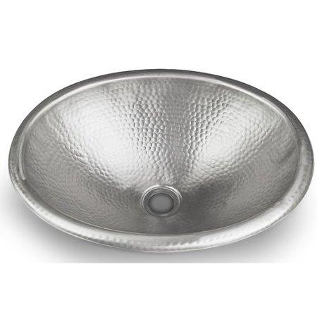 Monarch Abode Nickel Hand Hammered Oval Bathroom Sink 17 Inches