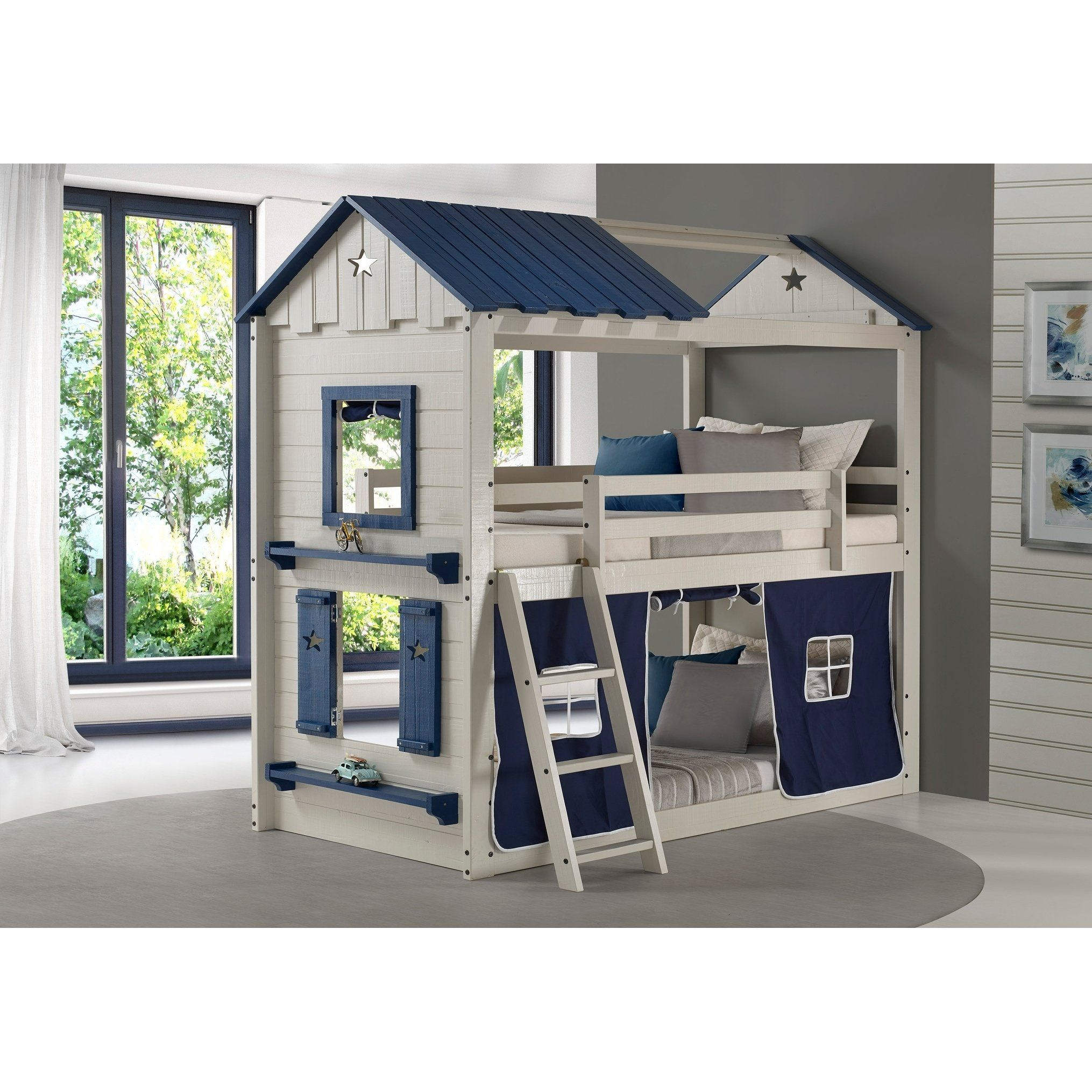 Twin over Twin Star Gaze Bunk Bed in Grey and Blue with