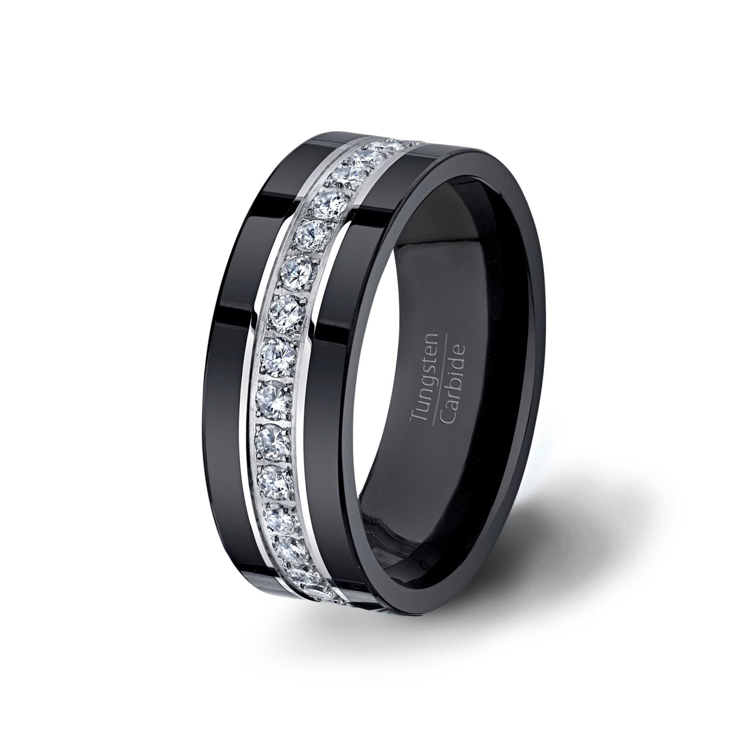 Mens Wedding Band Black Fully Stacked Tungsten by