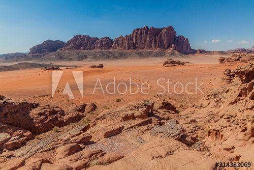 Rocky landscape of Wadi Rum desert, Jordan - Buy this stock photo and explore similar images at Adobe Stock