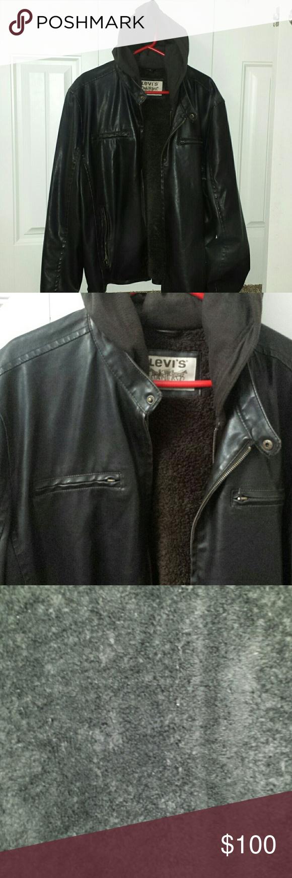 Levi S Faux Leather Brown Trucker Racer Jacket 2x Euc Dark Brown Fuzzy Lining And Dark Brown Hood Levi S Jackets Coats Racer Jacket Levi Leather [ 1740 x 580 Pixel ]