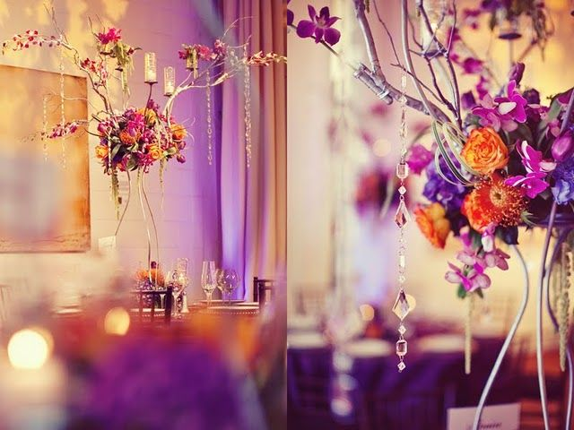 Fuschia Orange Purple Wedding Blue Yellow Ceremony Decoration Reception Ideas