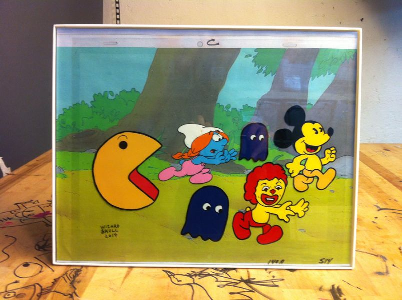 """""""ESCAPE FROM PACMAN"""" 12"""" x 16"""" FRAME ACRYLIC & SHARPIE ON """"THE SMURFS"""" ANIMATION CEL (ACETATE) w/Copy Background"""
