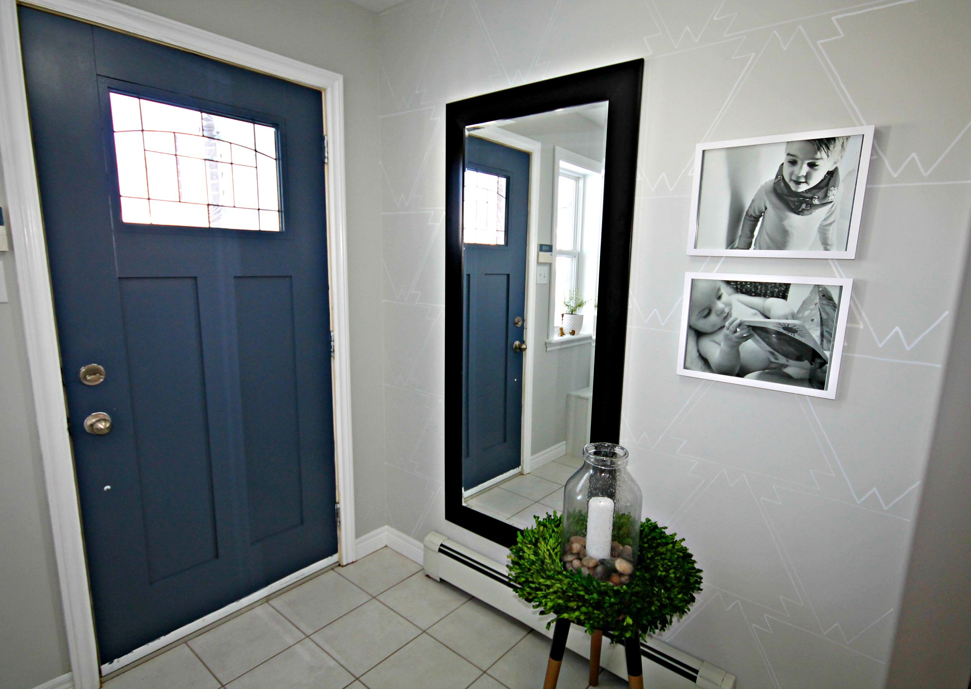 Newburyport Blue From Benjamin Moore Front Door Interior Doors Painted A Bold Colour Stenciled